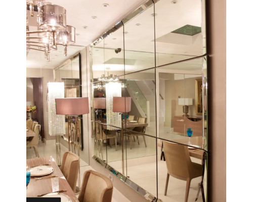 Большое зеркальное панно из квадратов
